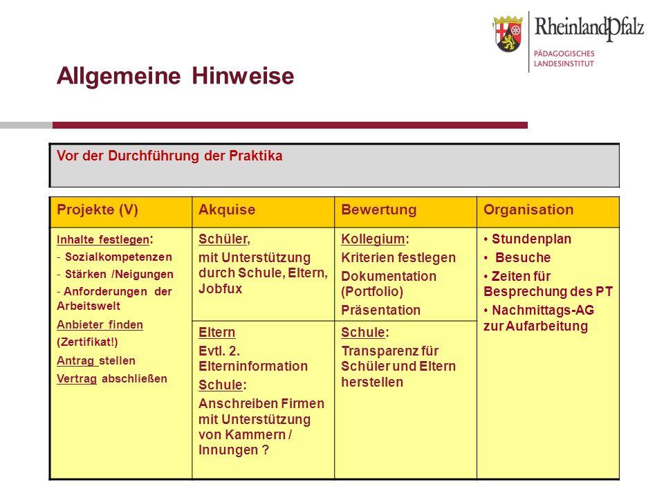 Allgemeine Hinweise Projekte (V) Akquise Bewertung Organisation