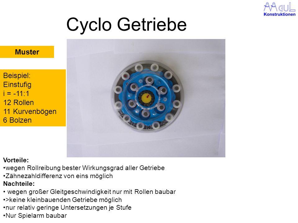 Cyclo Getriebe Muster Beispiel: Einstufig i = -11:1 12 Rollen