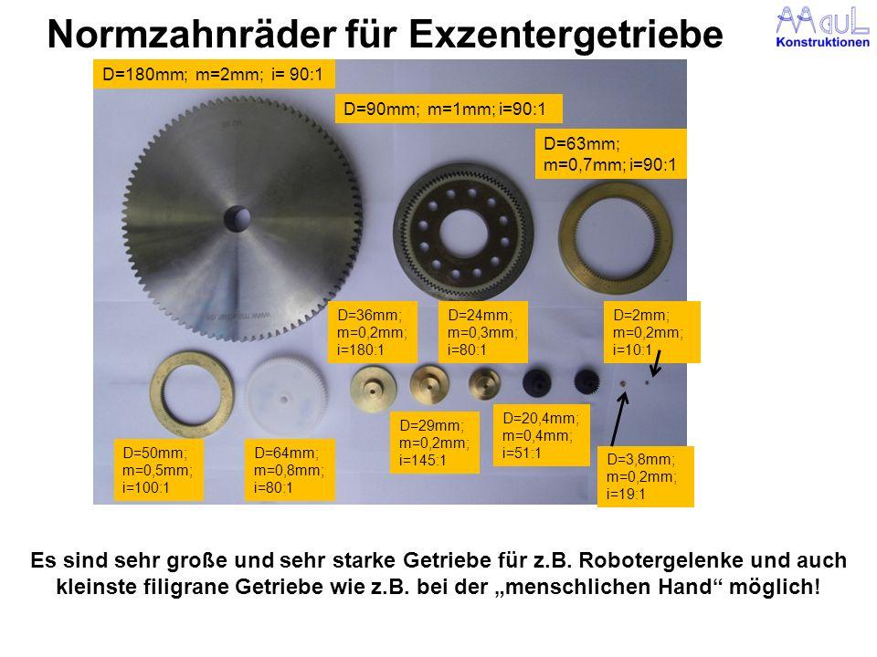 Normzahnräder für Exzentergetriebe