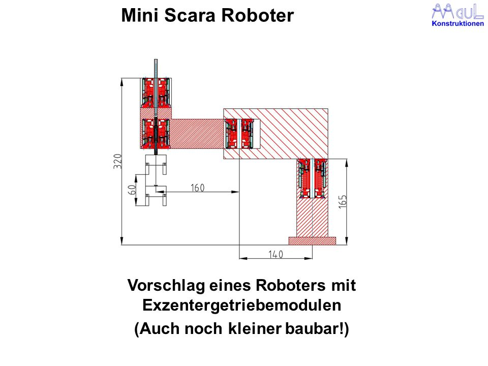 Mini Scara Roboter Vorschlag eines Roboters mit Exzentergetriebemodulen (Auch noch kleiner baubar!)