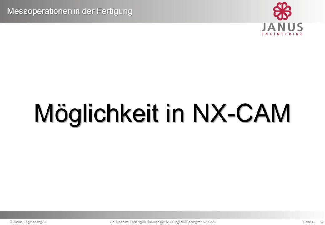 On-Machine-Probing im Rahmen der NC-Programmierung mit NX CAM