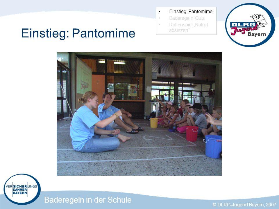 Einstieg: Pantomime Einstieg: Pantomime Baderegeln-Quiz
