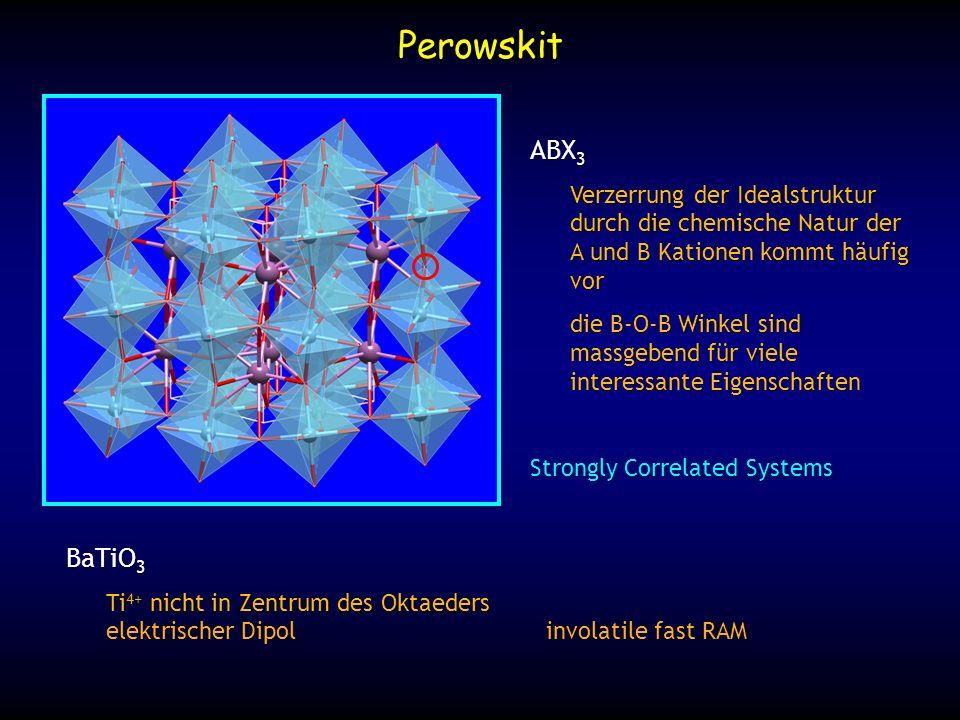 Perowskit ABX3. Verzerrung der Idealstruktur durch die chemische Natur der A und B Kationen kommt häufig vor.