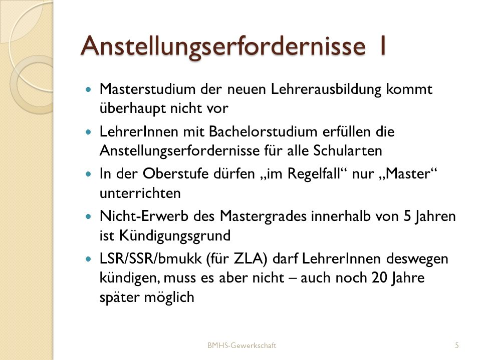 Anstellungserfordernisse 1