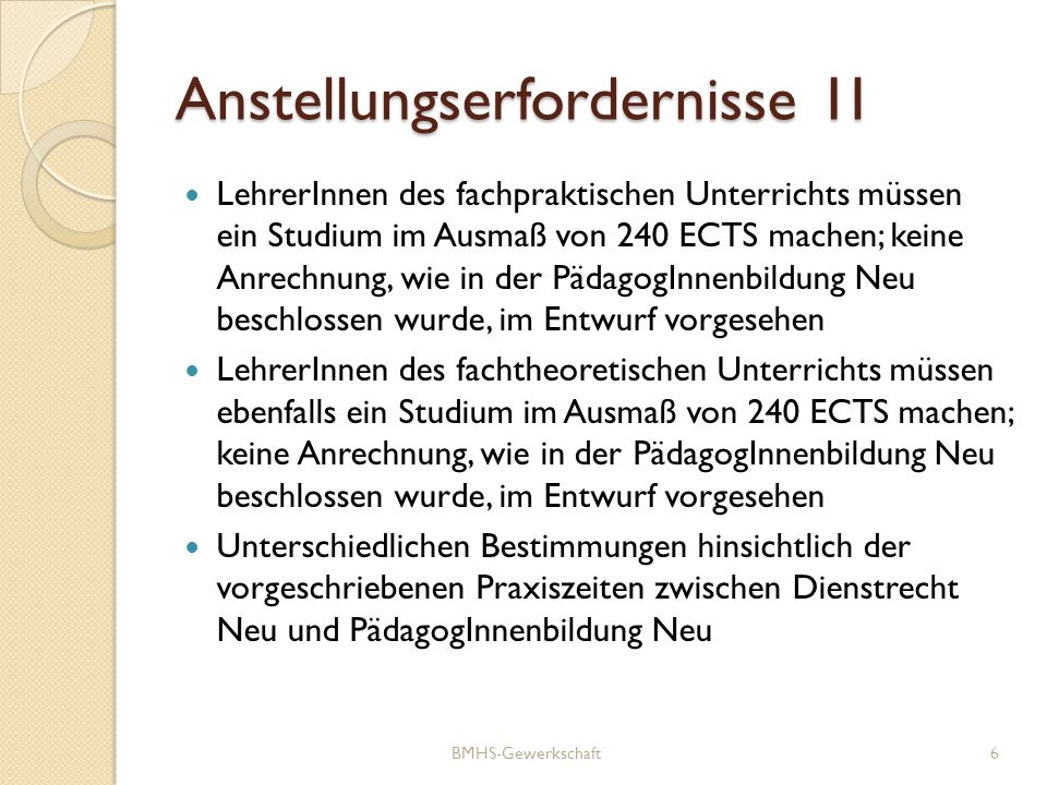 Anstellungserfordernisse 1I