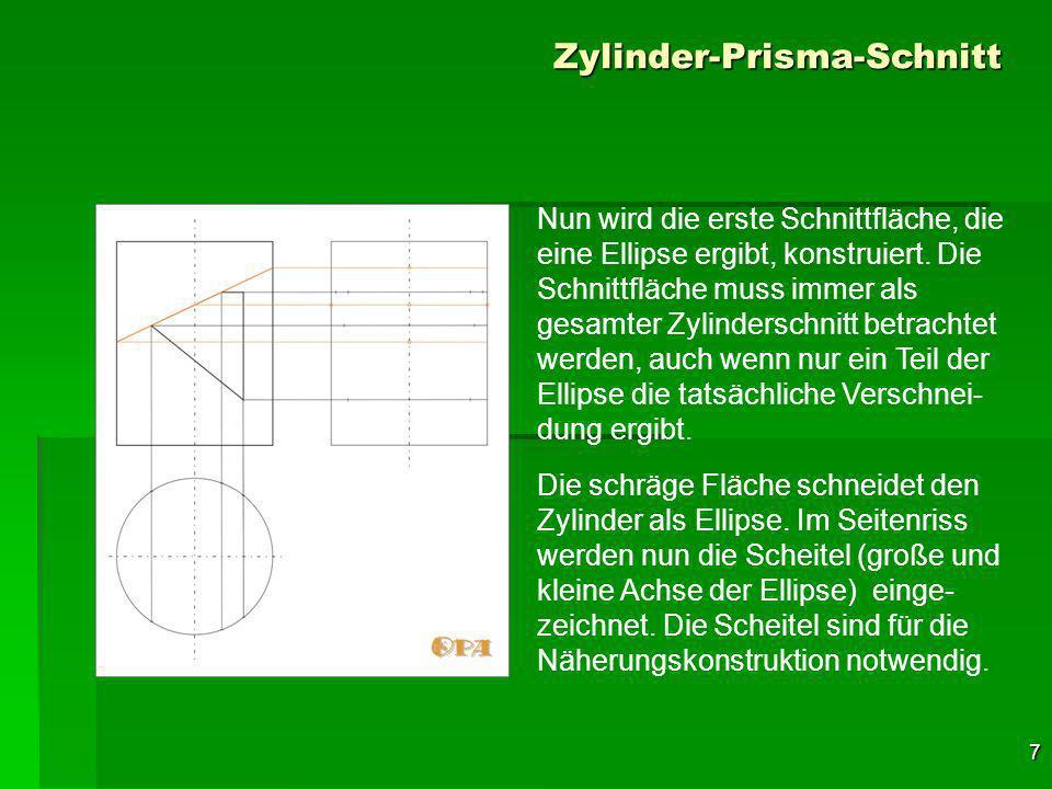 Zylinder-Prisma-Schnitt