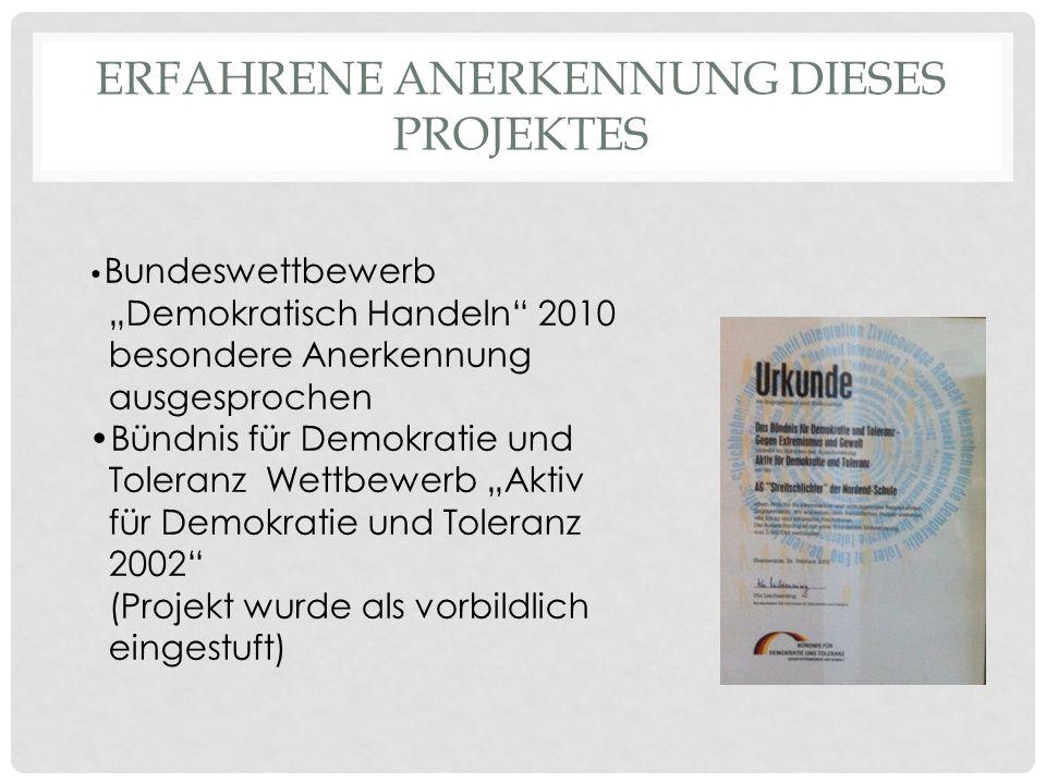 Erfahrene Anerkennung dieses Projektes
