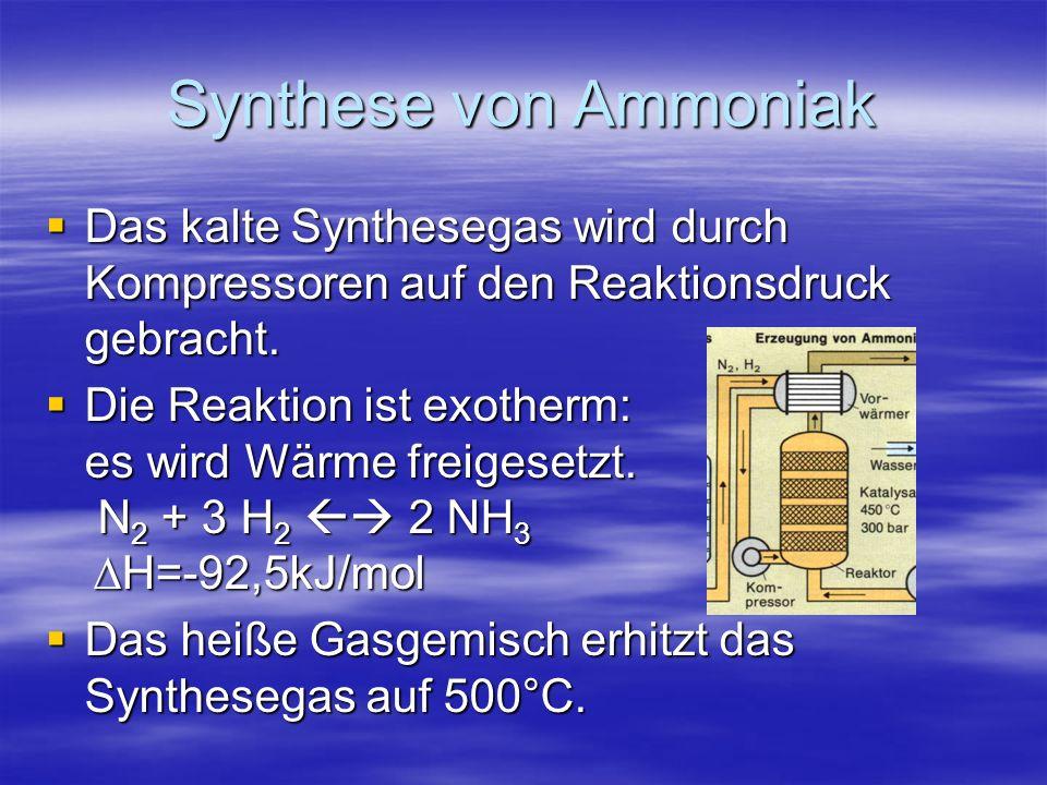 Synthese von Ammoniak Das kalte Synthesegas wird durch Kompressoren auf den Reaktionsdruck gebracht.