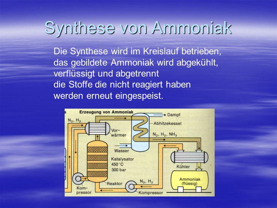 Synthese von Ammoniak Die Synthese wird im Kreislauf betrieben,