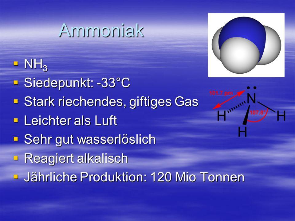 Ammoniak NH3 Siedepunkt: -33°C Stark riechendes, giftiges Gas