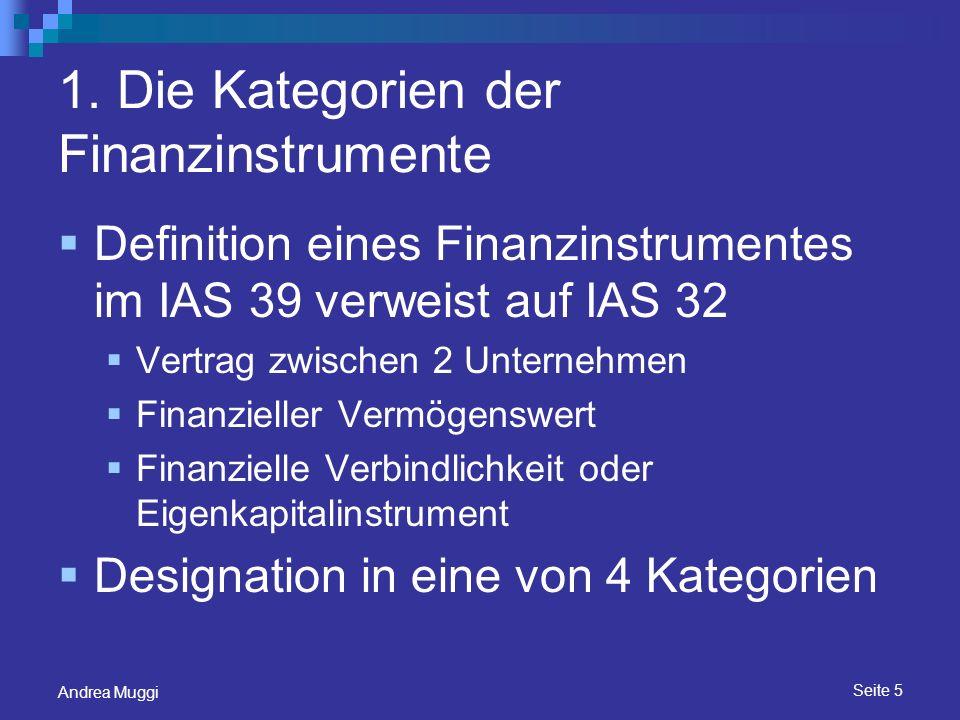 1. Die Kategorien der Finanzinstrumente