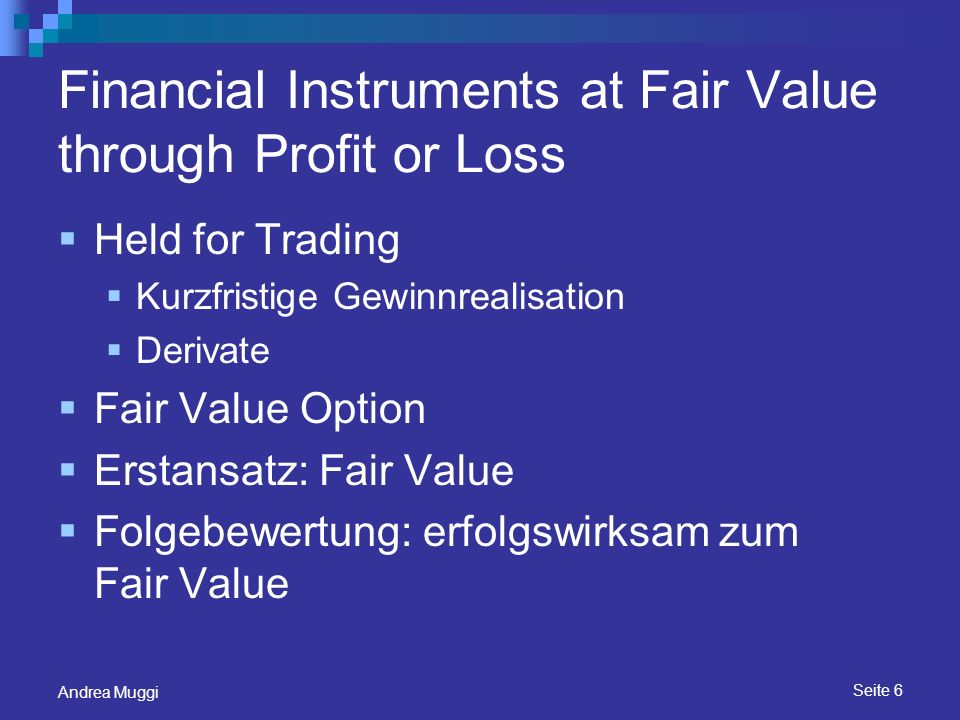 Financial Instruments at Fair Value through Profit or Loss
