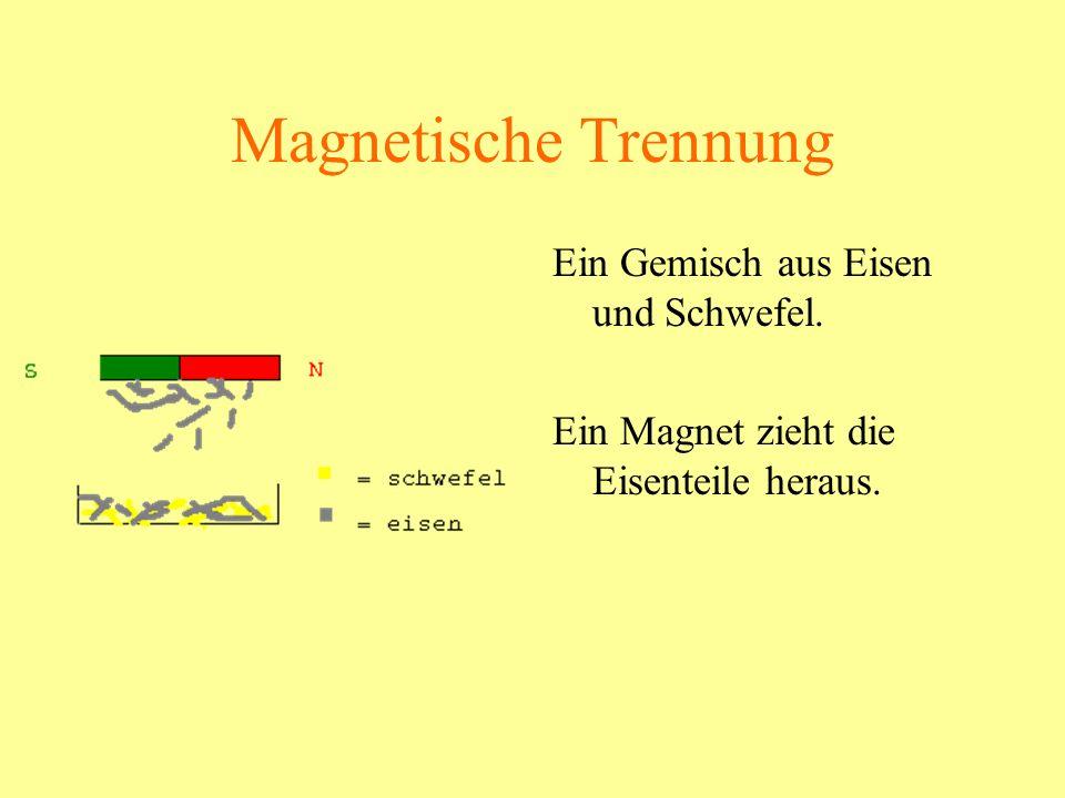 Magnetische Trennung Ein Gemisch aus Eisen und Schwefel.