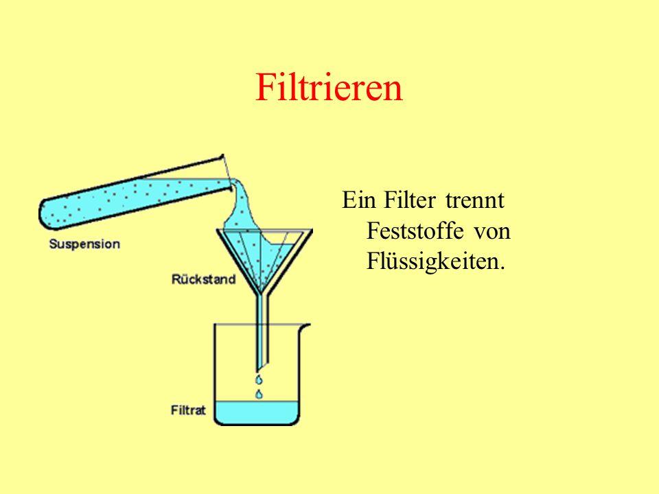 Filtrieren Ein Filter trennt Feststoffe von Flüssigkeiten.