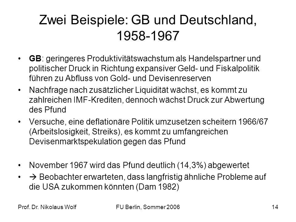 Zwei Beispiele: GB und Deutschland, 1958-1967