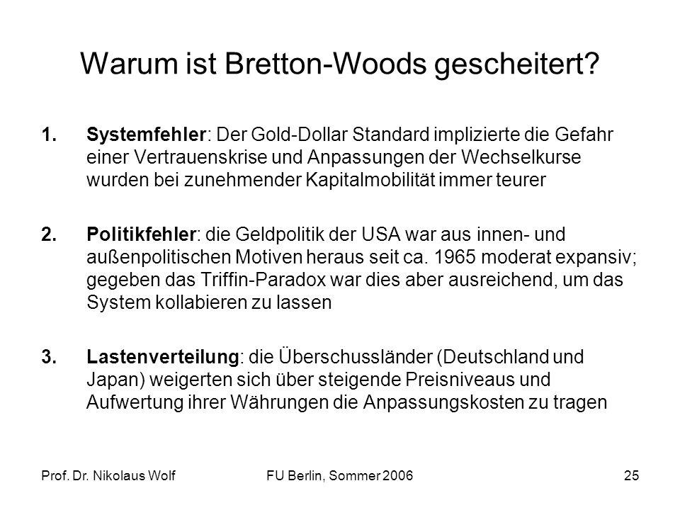 Warum ist Bretton-Woods gescheitert