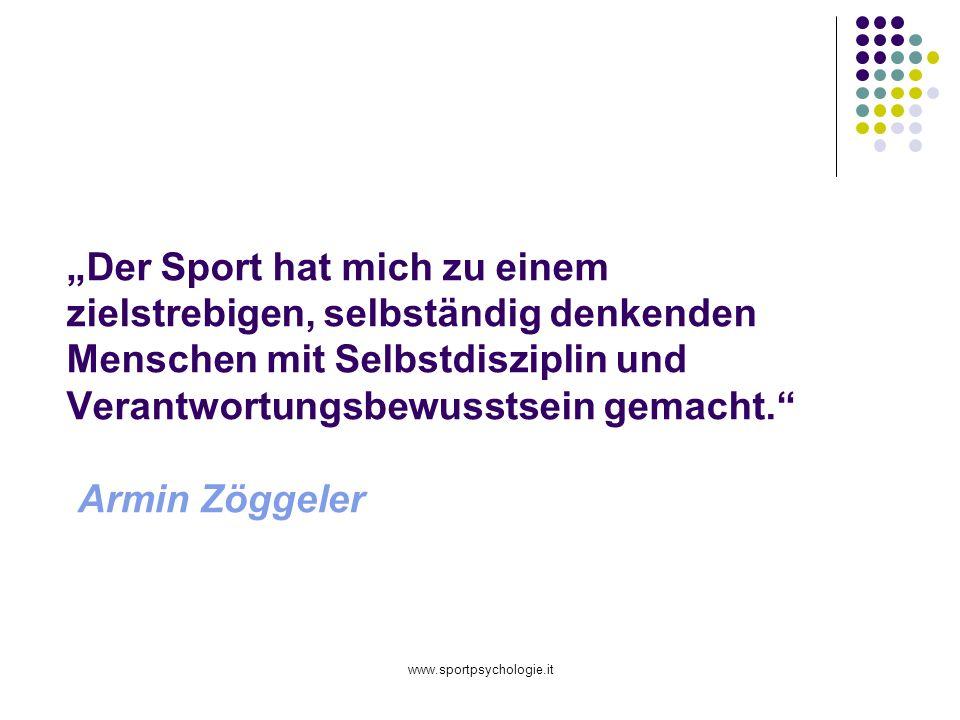"""""""Der Sport hat mich zu einem zielstrebigen, selbständig denkenden Menschen mit Selbstdisziplin und Verantwortungsbewusstsein gemacht. Armin Zöggeler"""