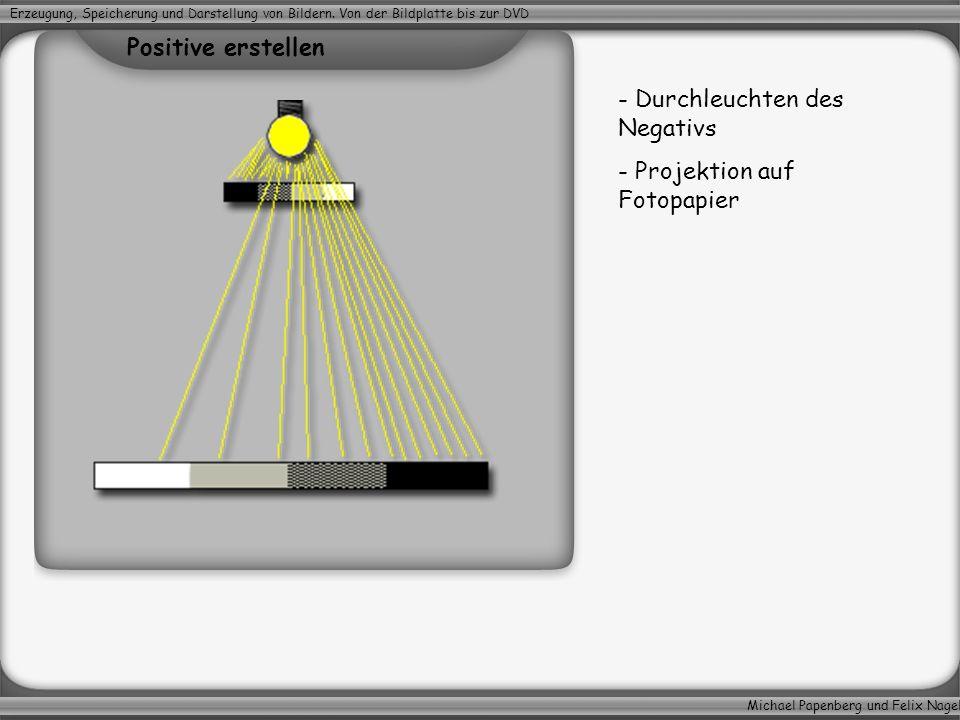 Durchleuchten des Negativs Projektion auf Fotopapier