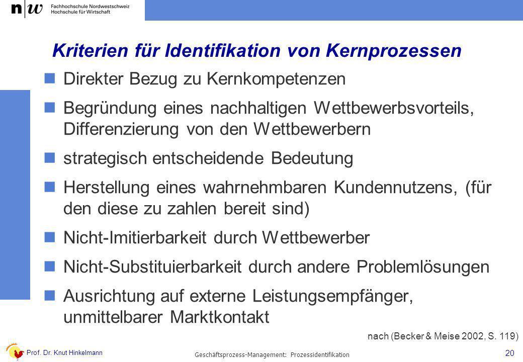 Kriterien für Identifikation von Kernprozessen