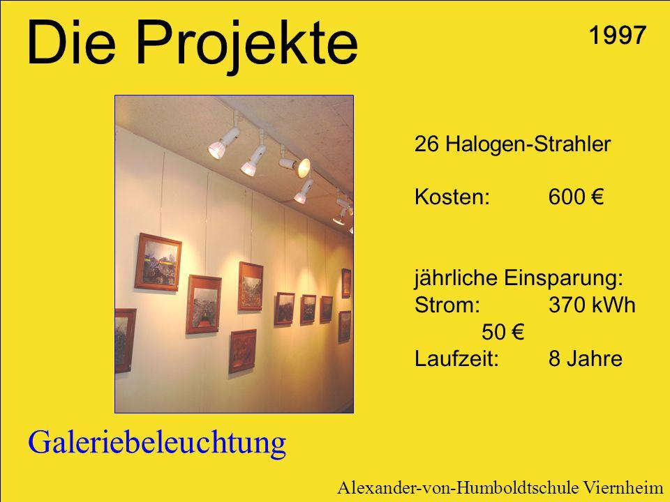 Die Projekte Galeriebeleuchtung 1997 26 Halogen-Strahler Kosten: 600 €