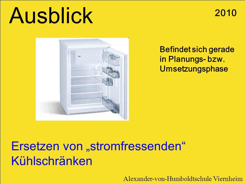 """Ausblick Ersetzen von """"stromfressenden Kühlschränken 2010"""