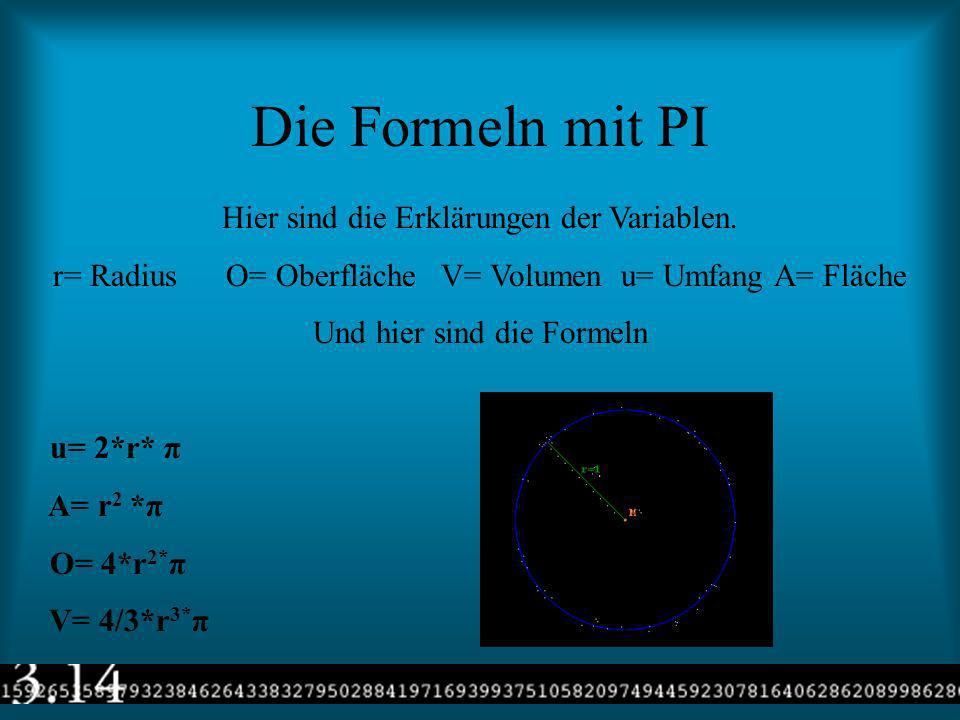Die Formeln mit PI Hier sind die Erklärungen der Variablen.