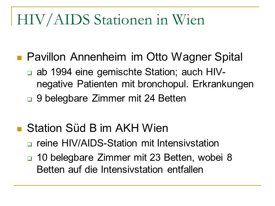 HIV/AIDS Stationen in Wien