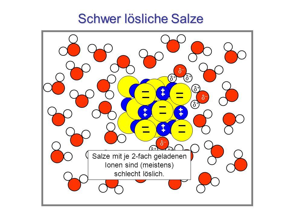 Salze mit je 2-fach geladenen Ionen sind (meistens) schlecht löslich.