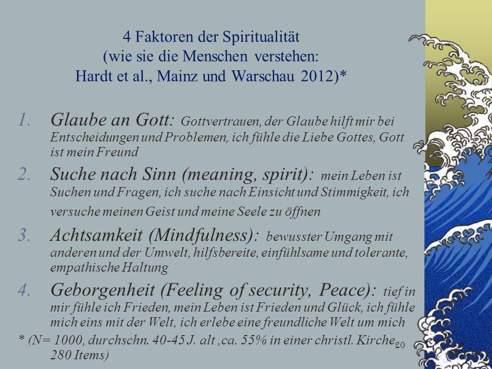 4 Faktoren der Spiritualität (wie sie die Menschen verstehen: Hardt et al., Mainz und Warschau 2012)*