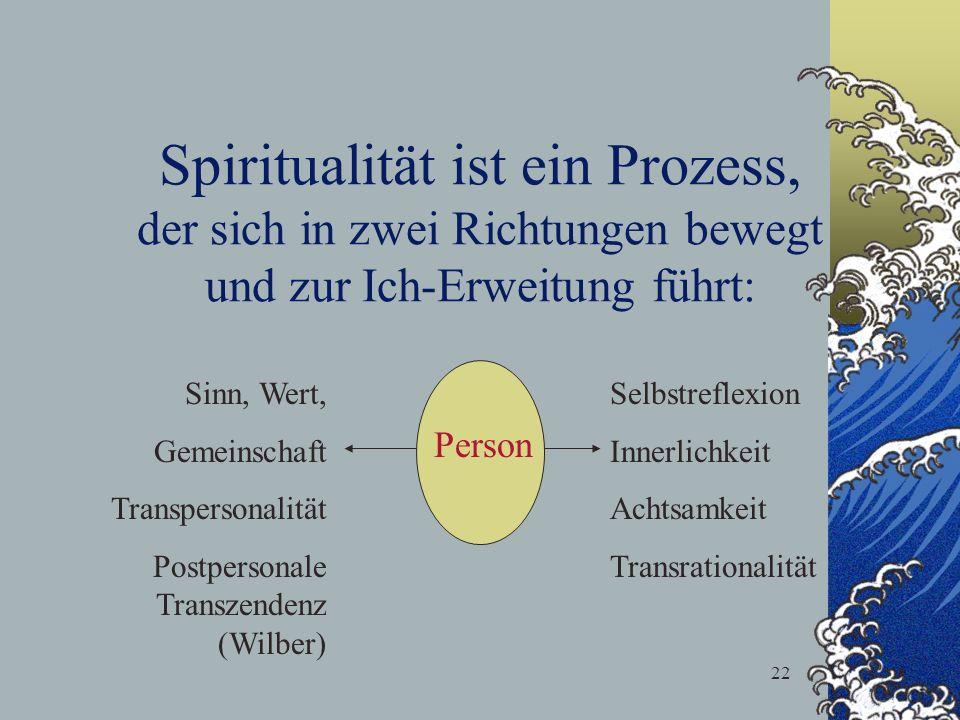 Spiritualität ist ein Prozess, der sich in zwei Richtungen bewegt und zur Ich-Erweitung führt: