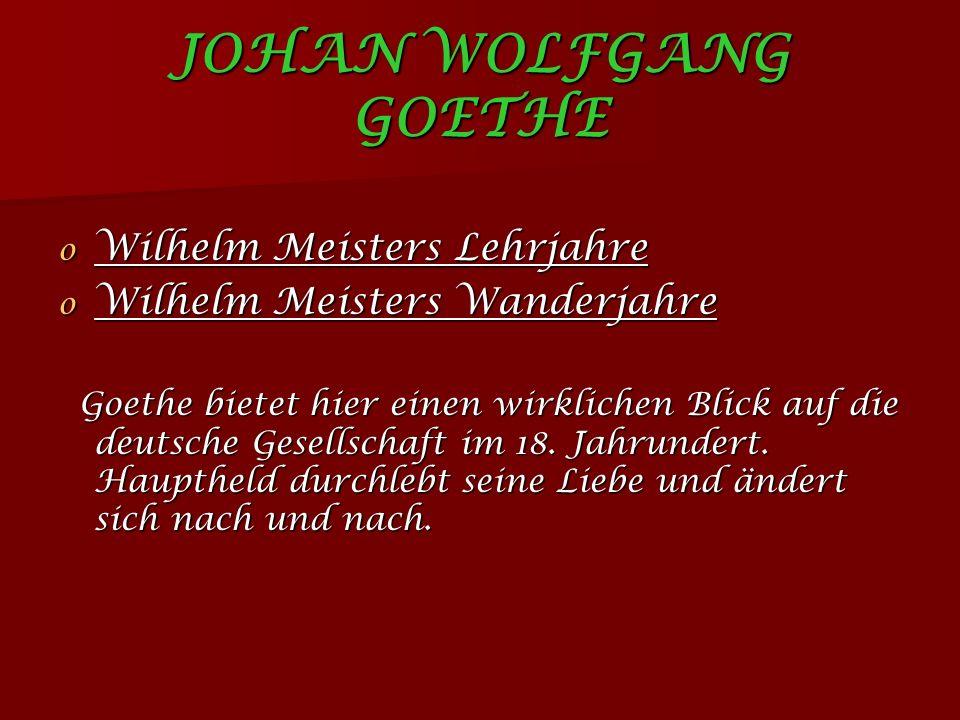 JOHAN WOLFGANG GOETHE Wilhelm Meisters Lehrjahre