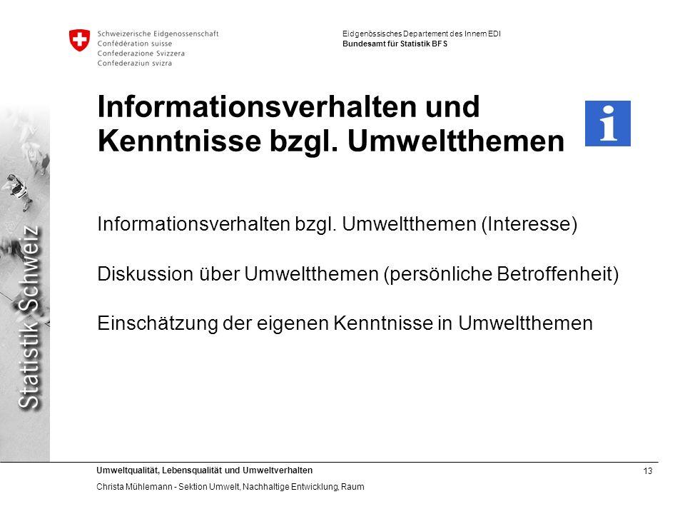 Informationsverhalten und Kenntnisse bzgl. Umweltthemen
