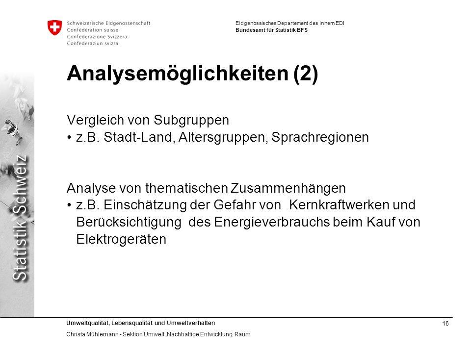 Analysemöglichkeiten (2)