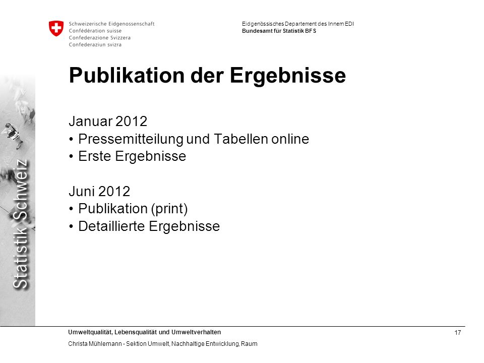 Publikation der Ergebnisse