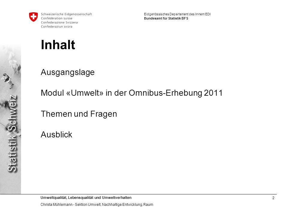 Inhalt Ausgangslage Modul «Umwelt» in der Omnibus-Erhebung 2011