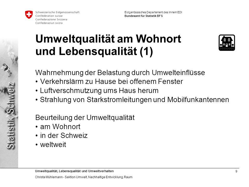 Umweltqualität am Wohnort und Lebensqualität (1)
