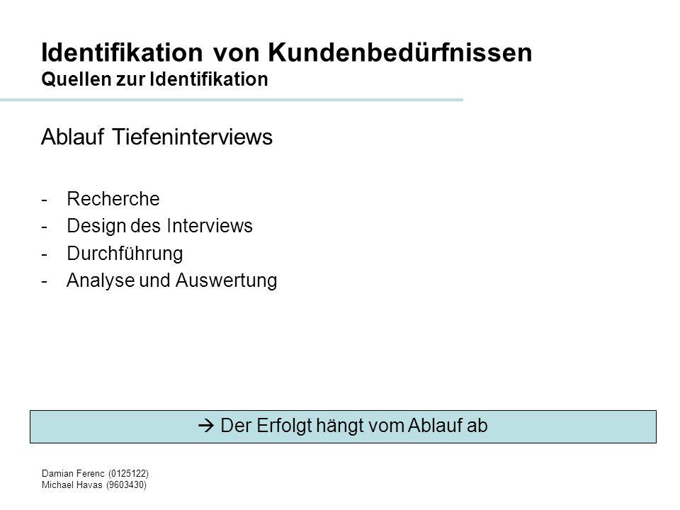 Identifikation von Kundenbedürfnissen Quellen zur Identifikation