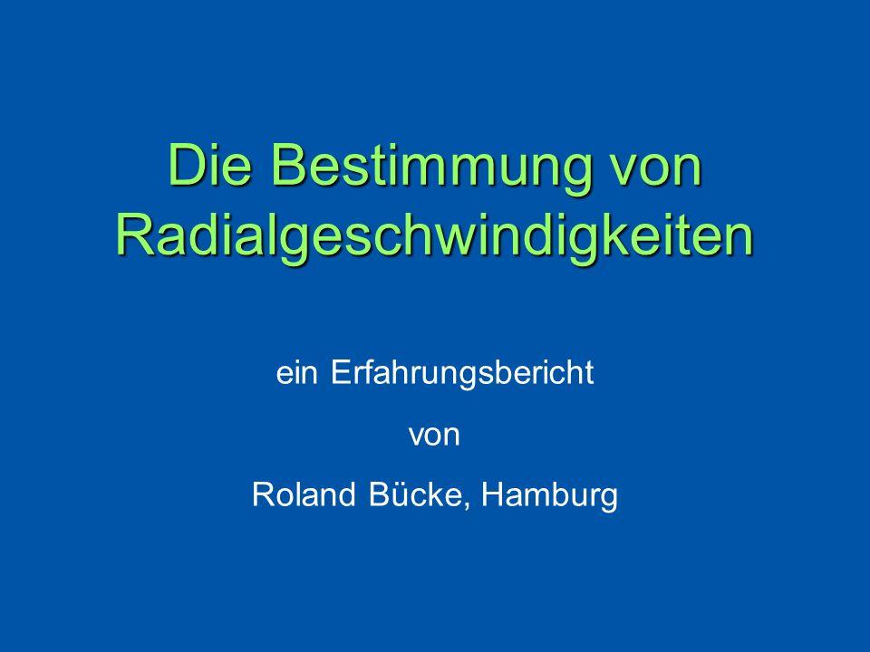 Die Bestimmung von Radialgeschwindigkeiten
