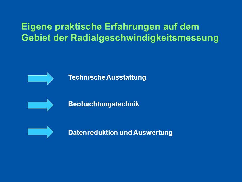 Eigene praktische Erfahrungen auf dem Gebiet der Radialgeschwindigkeitsmessung