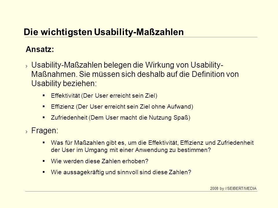 Die wichtigsten Usability-Maßzahlen
