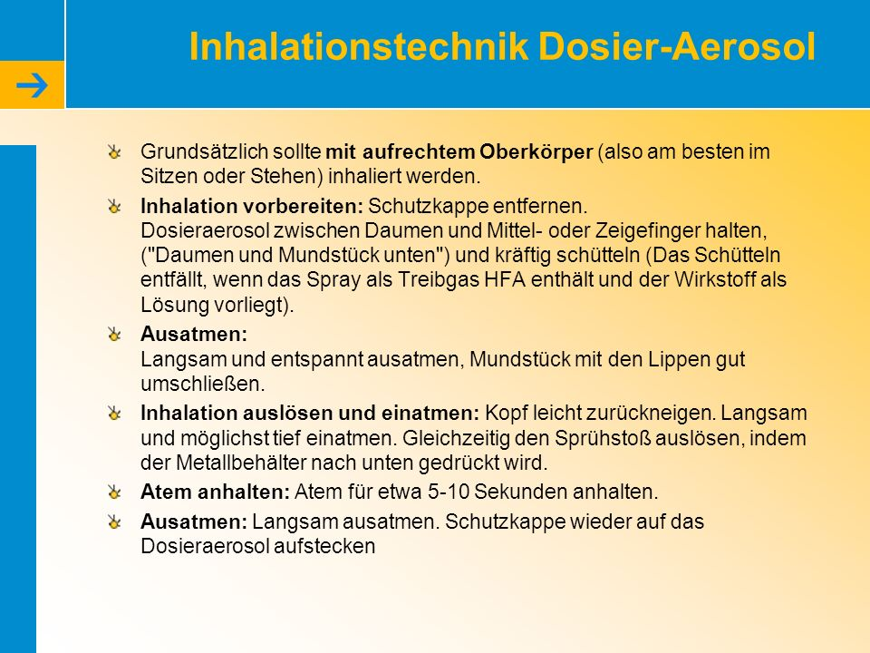 Inhalationstechnik Dosier-Aerosol