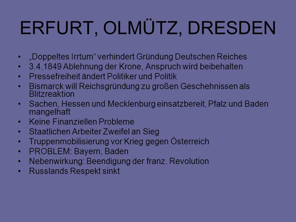 """ERFURT, OLMÜTZ, DRESDEN """"Doppeltes Irrtum verhindert Gründung Deutschen Reiches. 3.4.1849 Ablehnung der Krone, Anspruch wird beibehalten."""