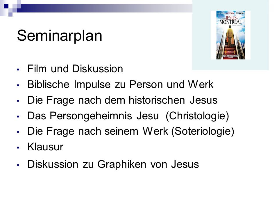 Seminarplan Film und Diskussion Biblische Impulse zu Person und Werk