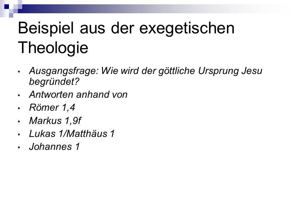 Beispiel aus der exegetischen Theologie