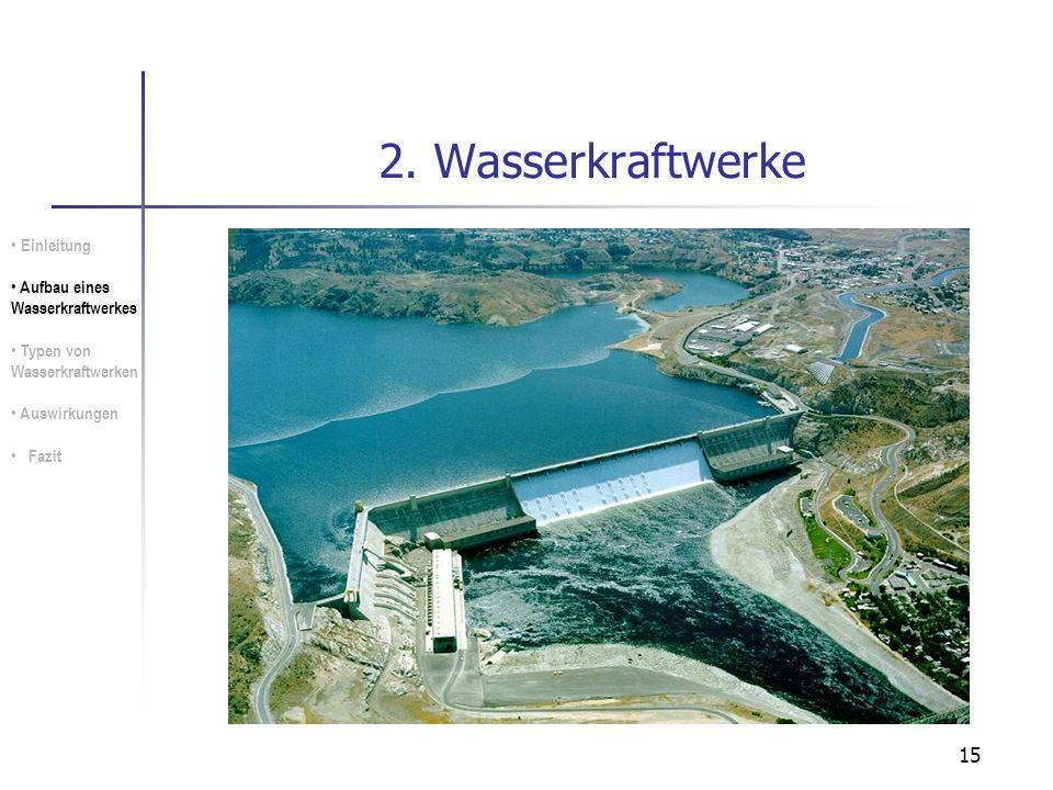2. Wasserkraftwerke Einleitung Aufbau eines Wasserkraftwerkes