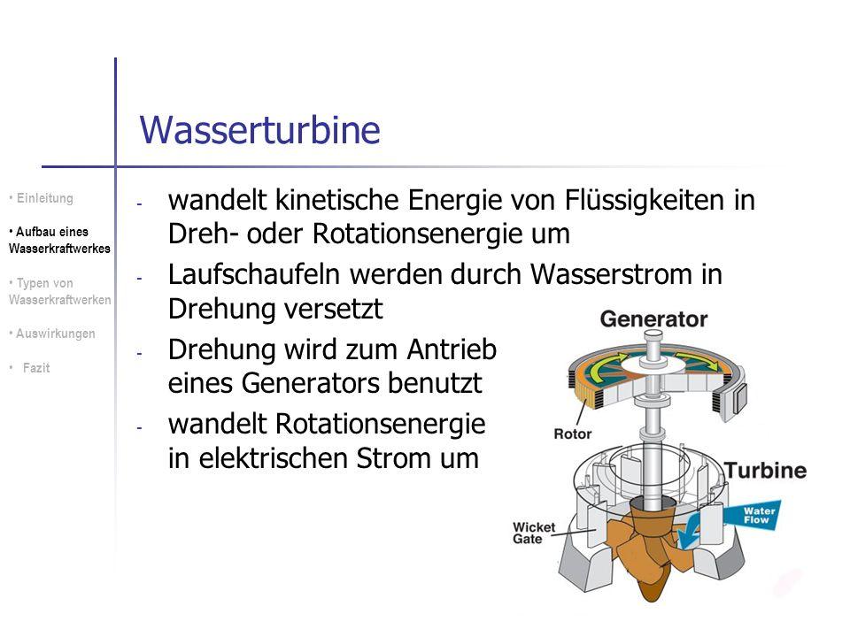 Wasserturbine wandelt kinetische Energie von Flüssigkeiten in Dreh- oder Rotationsenergie um.