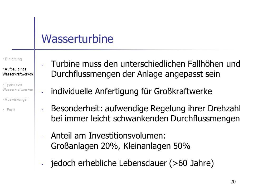 Wasserturbine Einleitung. Aufbau eines Wasserkraftwerkes. Typen von Wasserkraftwerken. Auswirkungen.
