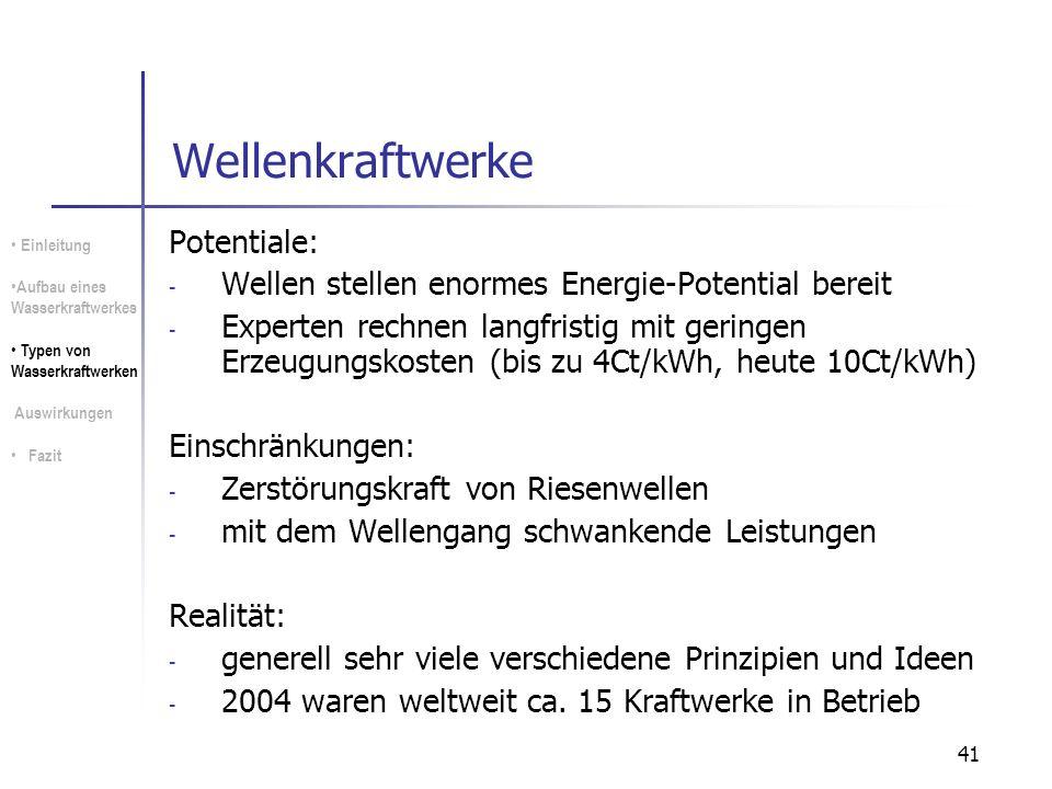 Wellenkraftwerke Potentiale: