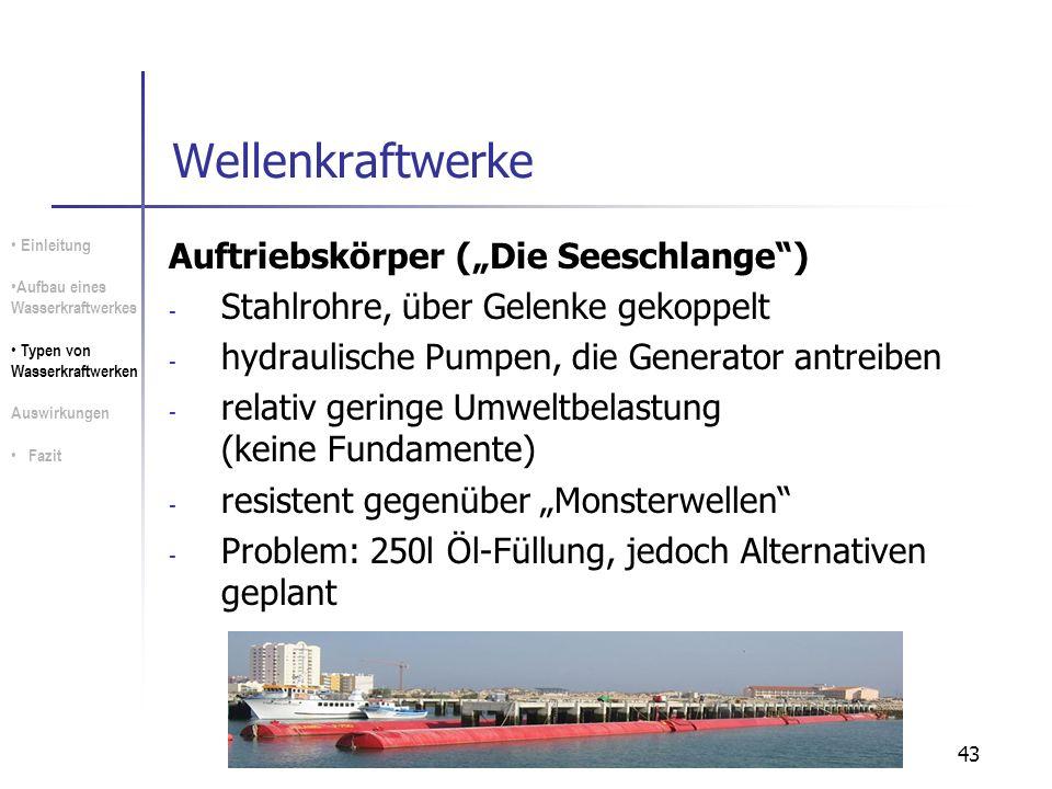 """Wellenkraftwerke Auftriebskörper (""""Die Seeschlange )"""