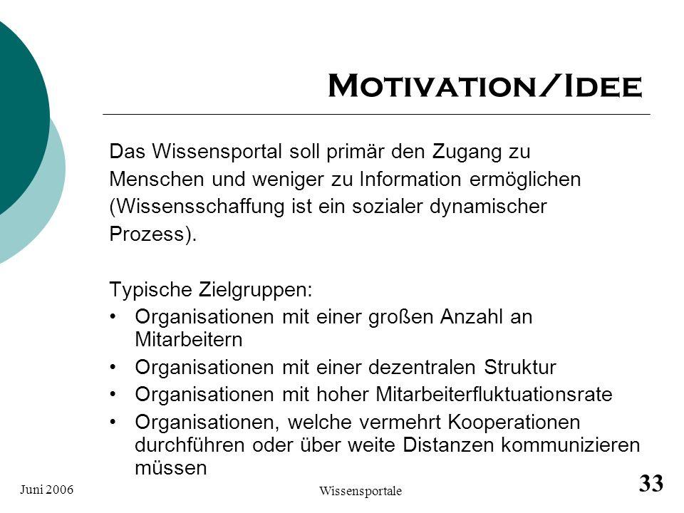 Motivation/Idee Das Wissensportal soll primär den Zugang zu